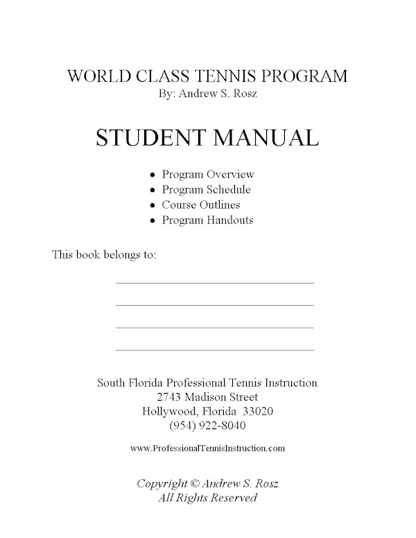 World Class Tennis Program - Student Manual